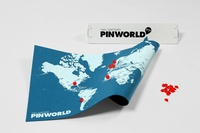 Pin world wall map - blauw small